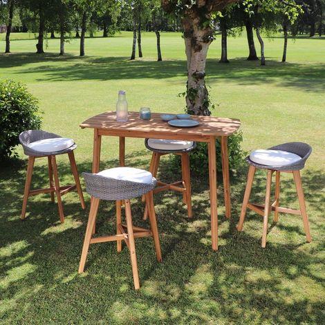 Salon de jardin haut en bois d'acacia 4 places - Marron