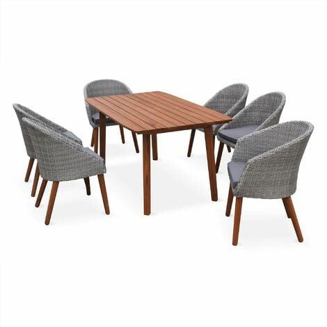 Salon de jardin HUESCA, design scandinave, eucalyptus FSC et résine ...