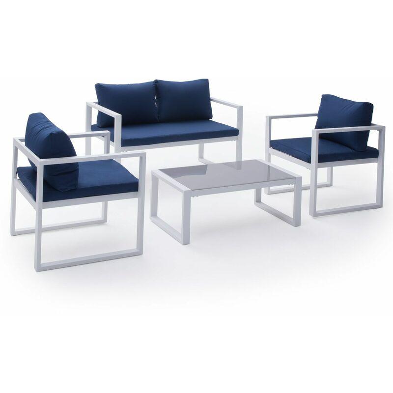 Salon de jardin IBIZA en tissu bleu 4 places - aluminium blanc - Bleu