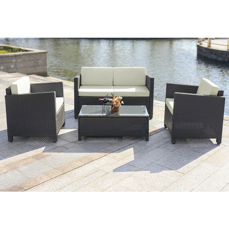 Salon de jardin iKayaa 4 personnes – 2 fauteuils + canape 2 places Noir et  beige / Brun foncé et rouge