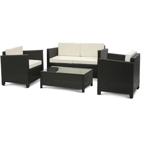 Salon de jardin iKayaa 4 personnes – 2 fauteuils + canape 2 places ...