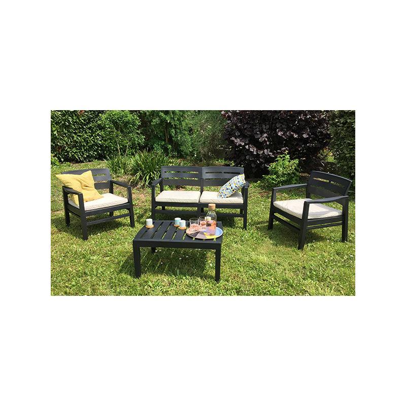 Salon de jardin Java en résine coloris gris anthracite - 4 personnes