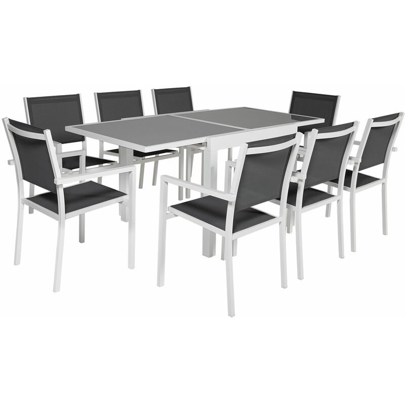 Salon de jardin LAMPEDUSA extensible en textilène gris 8 places - aluminium blanc - Blanc