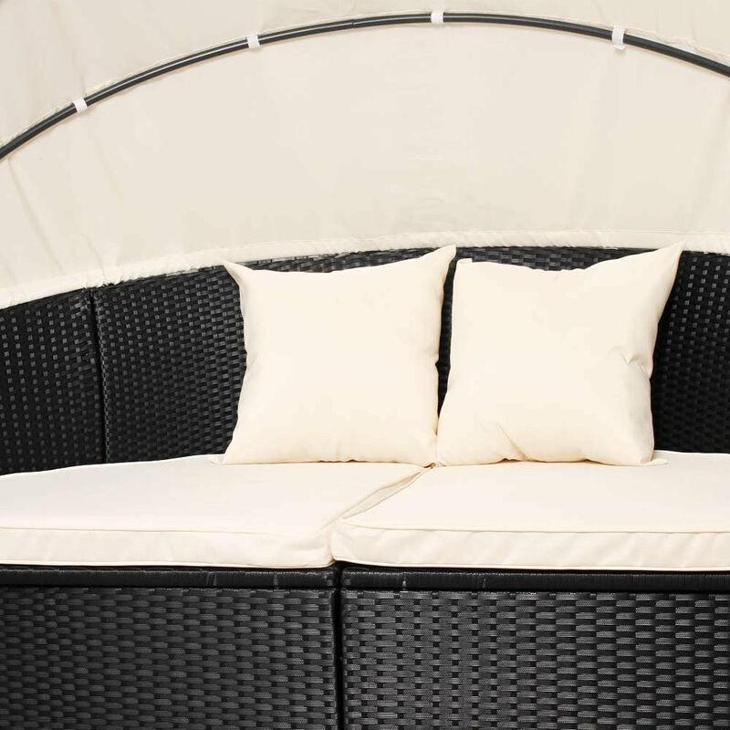 Salon de jardin lit bain de soleil canapé rond transat résine tressé rotin  fauteuil noir