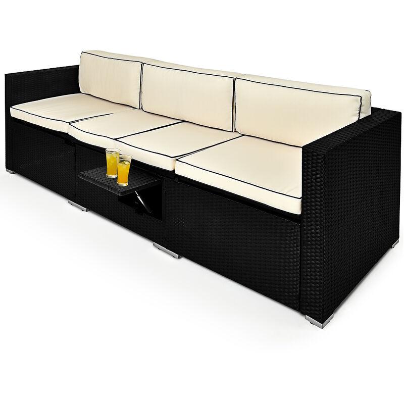 Salon de jardin Lounge - Divan de jardin table réglable Transat en polyrotin