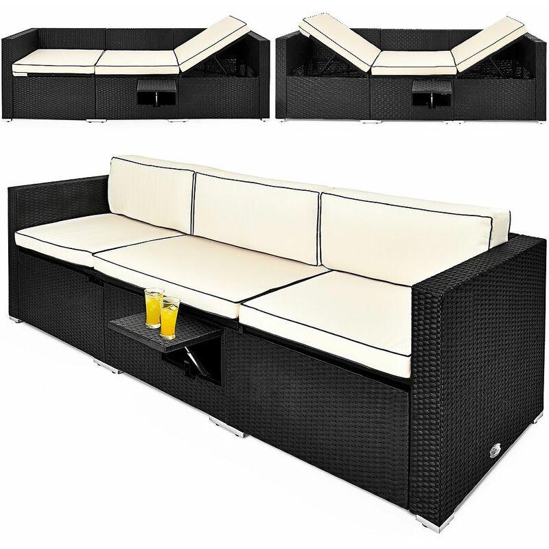 Deuba | Canapé • ensemble en polyrotin noir avec coussins et table • fonction transat | Bain de soleil, salon de jardin, lounge