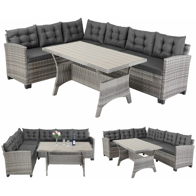 Casaria - Salon de jardin lounge en polyrotin gris anthracite Canapé d'angle avec table 6 personnes Mobilier de jardin extérieur