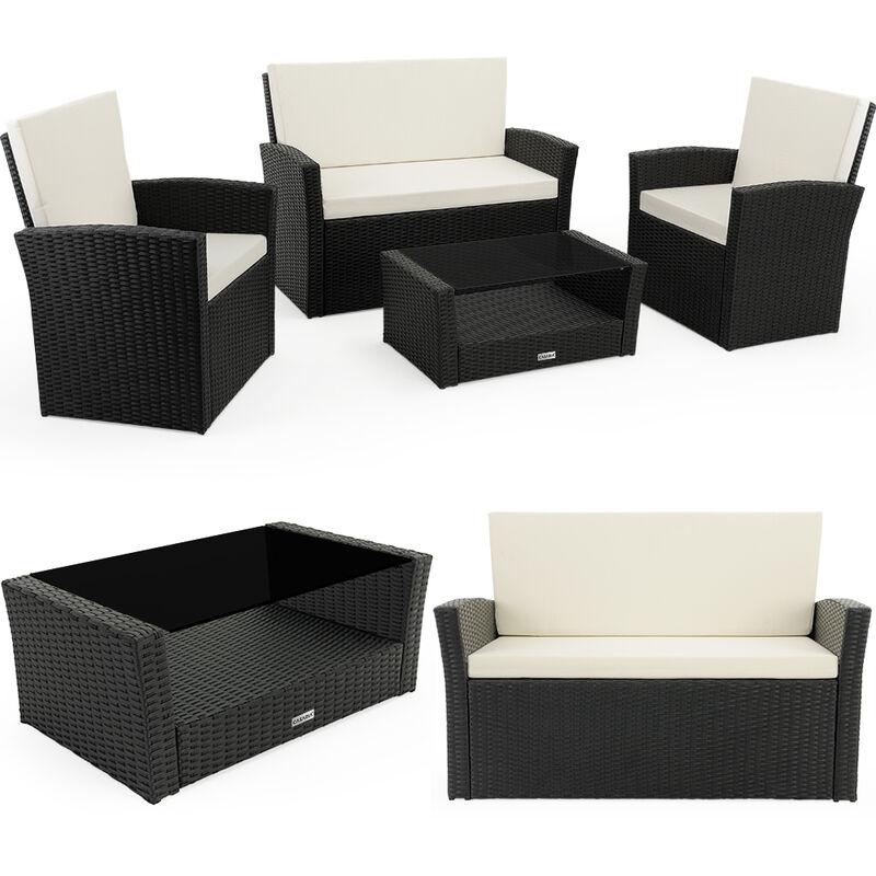 Salon de jardin lounge en polyrotin résistant aux intempéries et aux UV noir housses et coussins hydrofuges