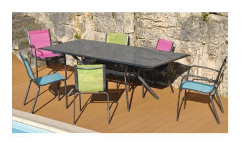 Salon de jardin MALAGA 6 places en aluminium et textilène couleur fuschia -  Proloisirs