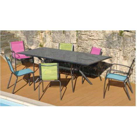 Salon de jardin MALAGA 6 places en aluminium et textilène couleur ...