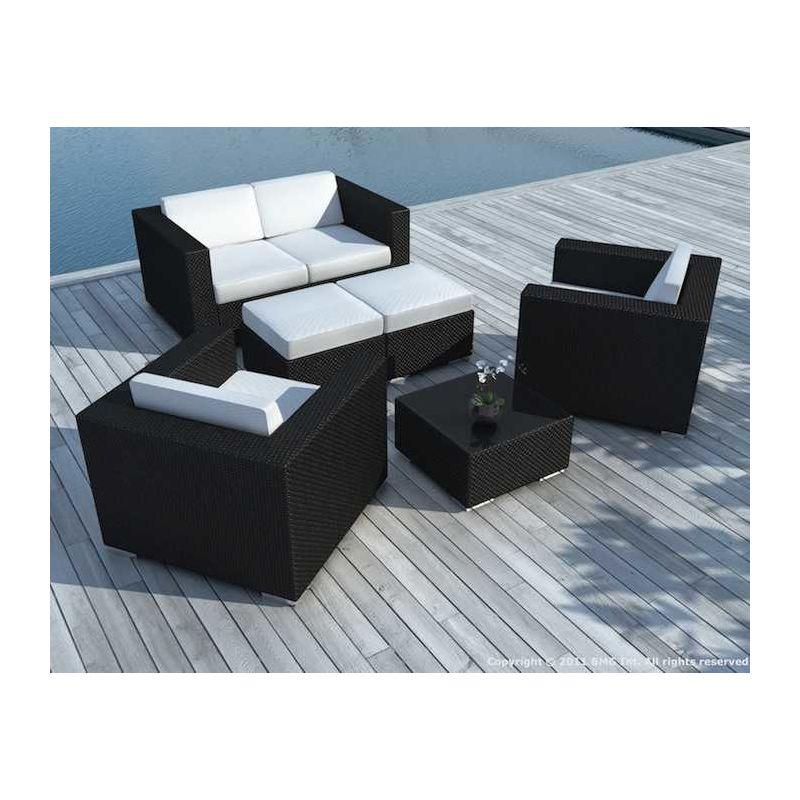 Salon de jardin 4 à 6 places en résine noire avec coussins Écru