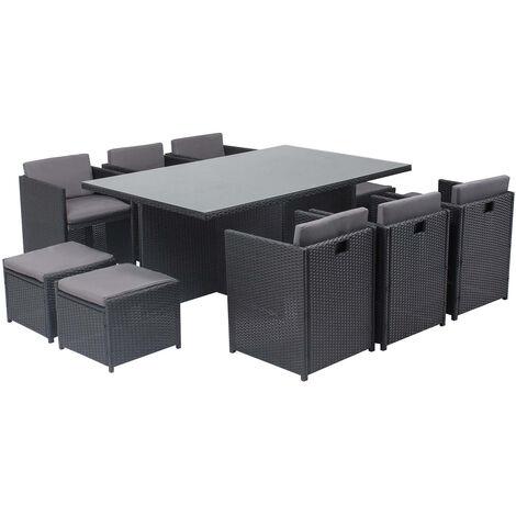 Salon de jardin Miami table résine tressée 10 places et fauteuils ...