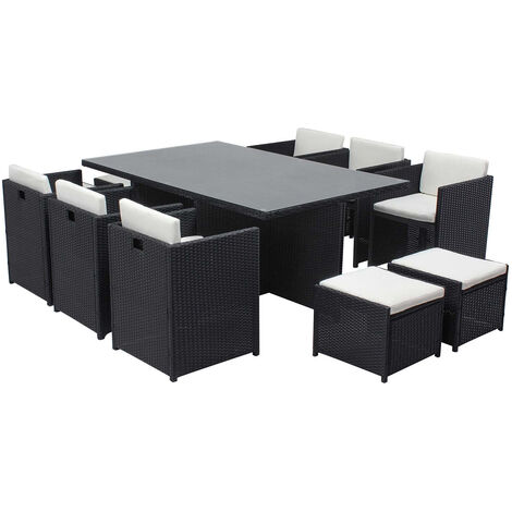 Salon de jardin Miami table résine tressée 10 places et fauteuils encastrables