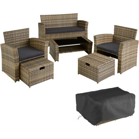 Salon de jardin MODENE 4 places avec housse de protection - table de jardin, mobilier de jardin, salon jardin