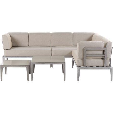 Salon de jardin modulable 6 places gris et beige RIMA