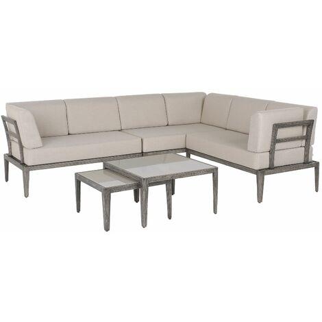 Salon de jardin modulable canapé d'angle beige et taupe et 2 tables basses