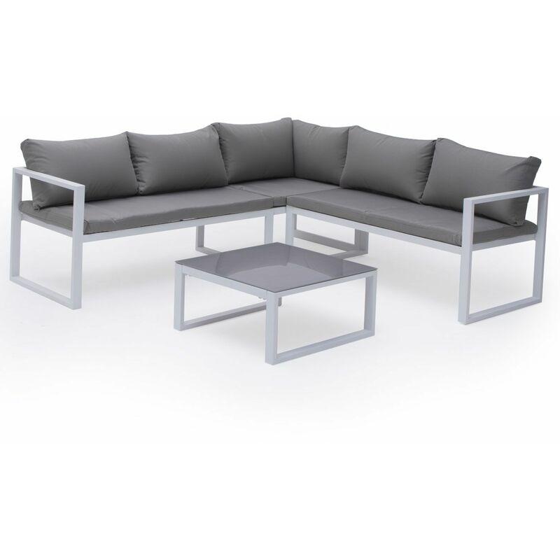 Salon de jardin modulable IBIZA en tissu gris 4 places - aluminum blanc