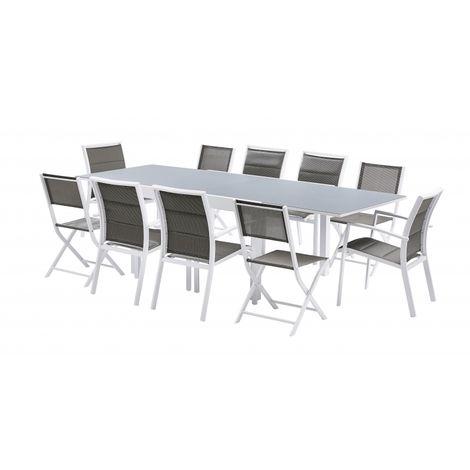 Salon de jardin Modulo 6+4 chaises Blanc / Gris perle