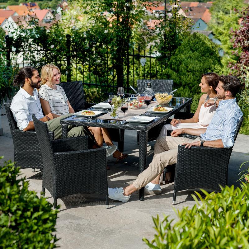Salon de jardin MONACO 8 places avec 2 sets de housses + housse de  protection