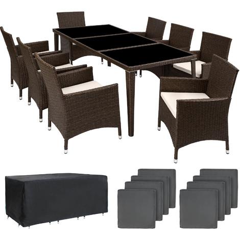 Salon de Jardin MONACO Résine Tressée 8 Personnes 8 Fauteuils 1 Table + 1 Housse Marron foncé