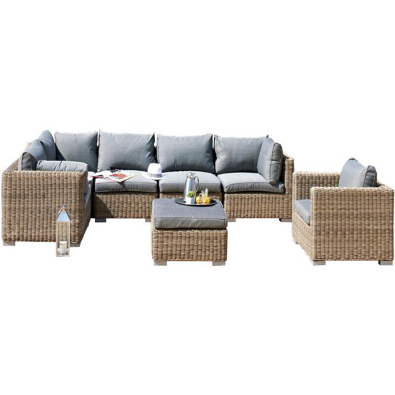 Salon de jardin MONTMARTRE 6P: 1 table basse + 2 chauffeuses + 3 angles + 1  fauteuil en resine tressee - MIEL