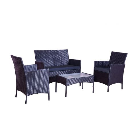 Salon de jardin Mykonos 4 places avec table basse - résine tressée