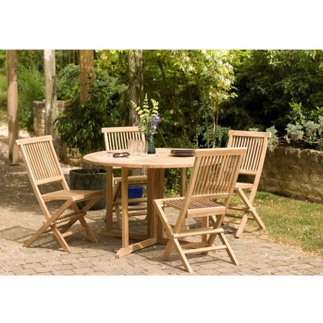 Salon de jardin n°18 en teck comprenant 1 table ronde papillon / 4 chaises  java
