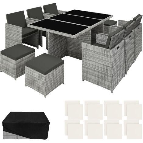 Salon de jardin NEW YORK 10 places avec 2 sets de housses + housse de protection, variante 2 - mobilier de jardin, meuble de jardin, ensemble table et chaises de jardin