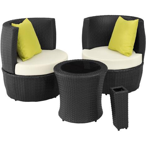 Salon De Jardin Nice Encastrable 2 Personnes En Resine Tressee Cadre En Aluminium 2 Fauteuils 1 Table 1 Pot De Fleurs Noir 403139