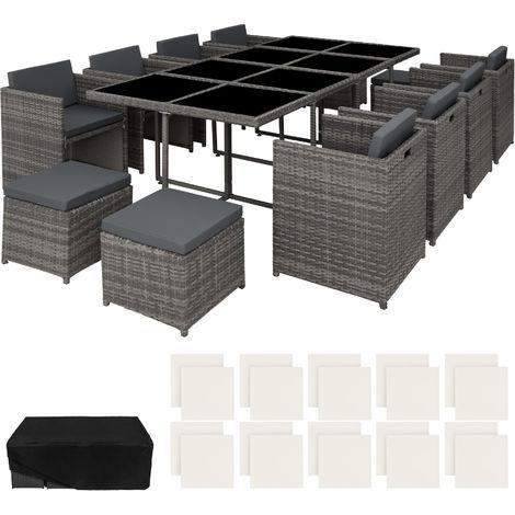 Salon de jardin NOUVELLE ORLEANS 12 places avec 2 sets de housses + housse de protection - mobilier de jardin, meuble de jardin, ensemble table et chaises de jardin