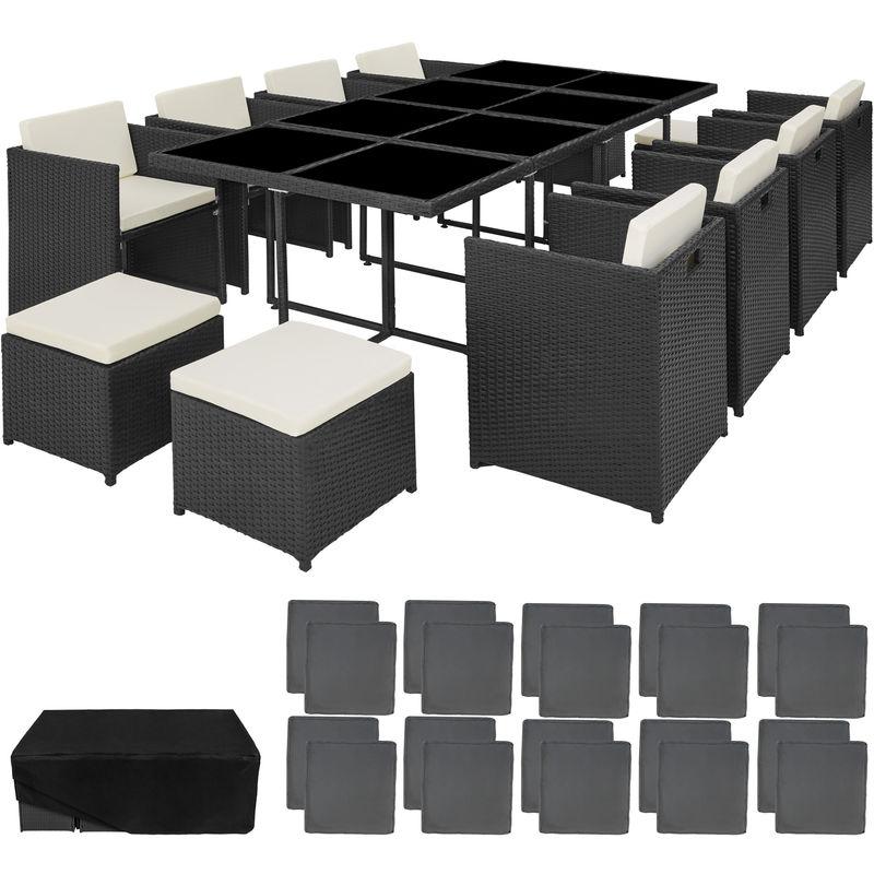 Salon de Jardin NOUVELLE ORLEANS Résine Tressée et Aluminium Encastrable 1  Table 8 Fauteuils 4 Tabourets Noir + 1 Housse