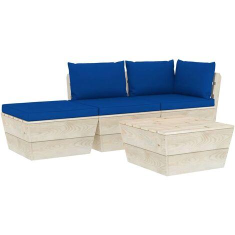 Salon de jardin palette 4 pcs avec coussins Épicéa imprégné