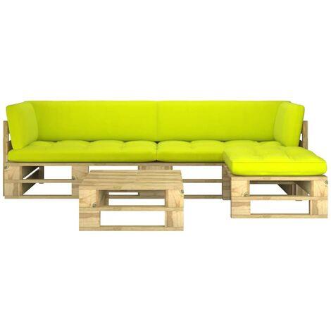 Salon de jardin palette 4pcs avec coussins Pin imprégné de vert