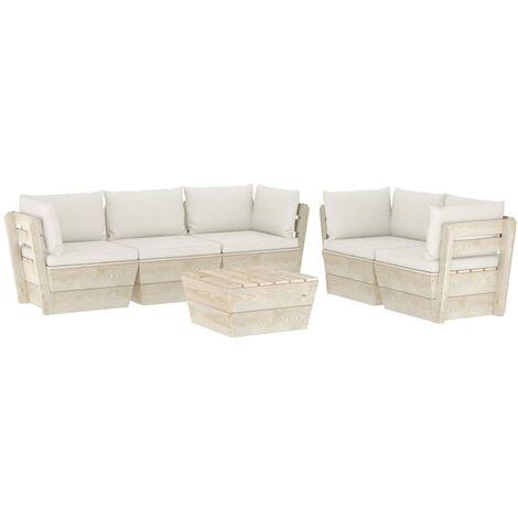 Salon de jardin palette 6 pcs avec coussins Épicéa imprégné