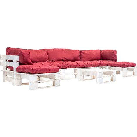 Salon de jardin palette 6 pcs avec coussins rouge Bois