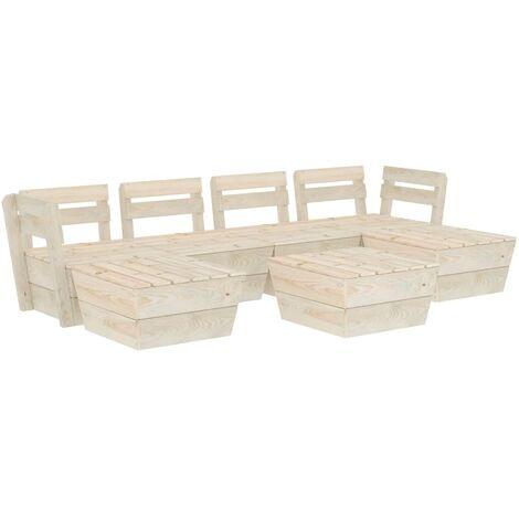 Salon de jardin palette 7 pcs Bois d'épicéa imprégné