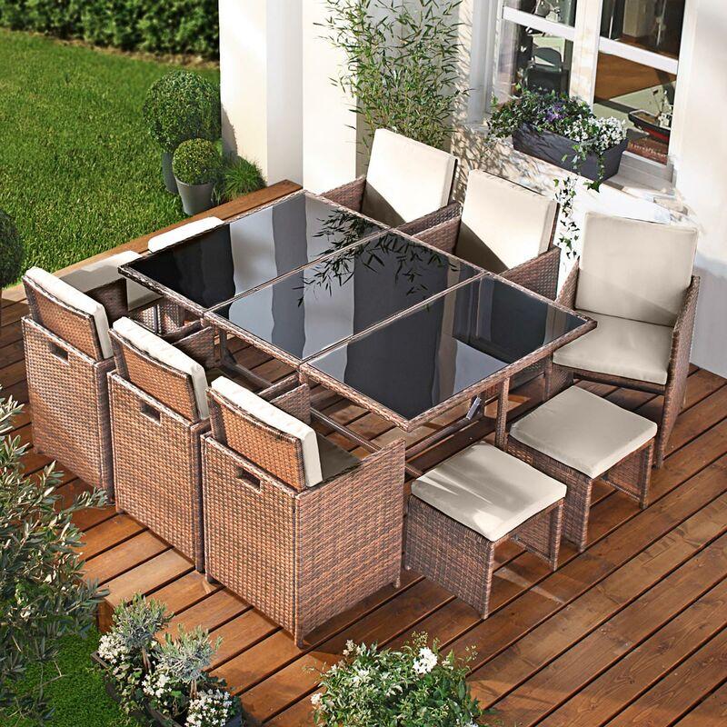 Salon de jardin 11 places marron-cappucino en rotin fin, peu d'espace élégant confortable - résistant - housse – salon repas CAMOUFLAGE DELUXE de