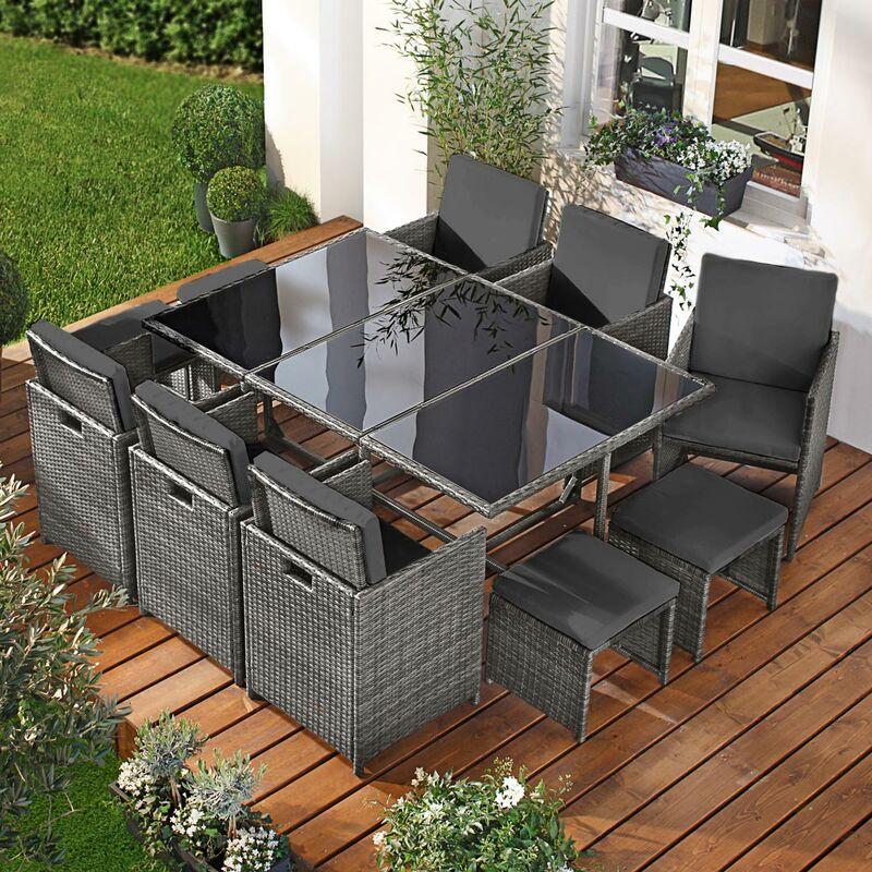 Brast - Salon de jardin 11 places gris/anthracite en rotin fin, peu d'espace élégant confortable - résistant - housse – salon repas CAMOUFLAGE DELUXE