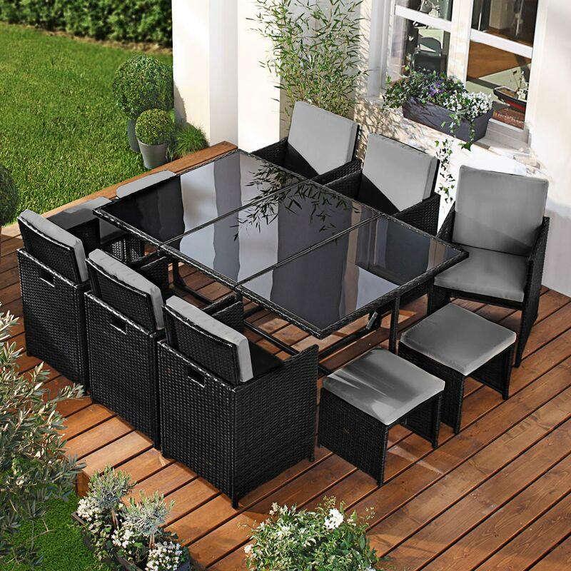 Salon de jardin 11 places noir/gris en rotin fin, peu d'espace élégant confortable - résistant - housse – salon repas CAMOUFLAGE DELUXE de BRAST
