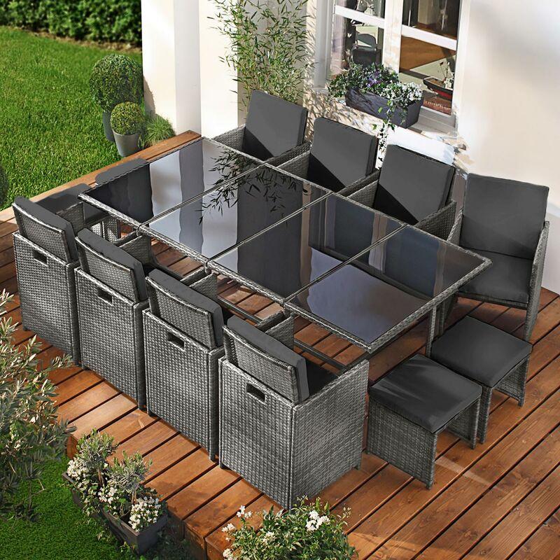 Salon de jardin 13 places gris/anthracite en rotin fin, peu d'espace élégant confortable - résistant - housse – salon repas CAMOUFLAGE DELUXE de BRAST