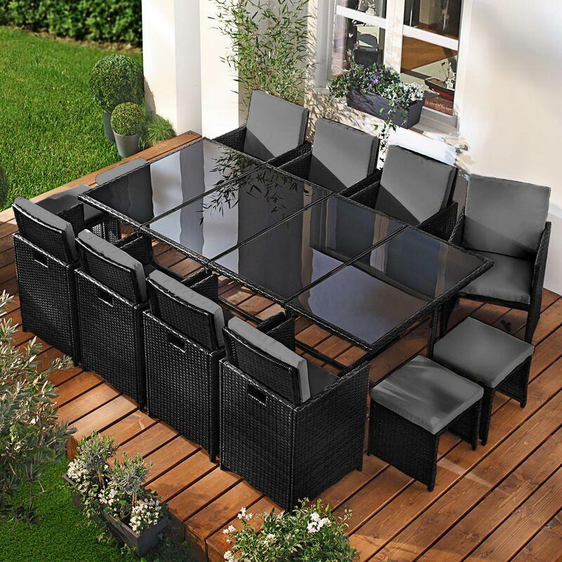 Salon de jardin 13 places noir/gris en rotin fin, peu d'espace élégant confortable - résistant - housse – salon repas CAMOUFLAGE DELUXE de BRAST