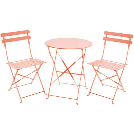 Salon de jardin pliable 3 pièces table ronde/2 chaises style bistro métal  taupe