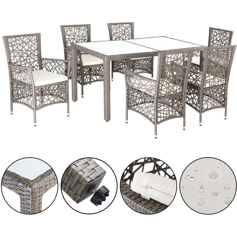 Salon de jardin polyrotin 1 table 6 chaises Marry-Jane 6 coussins 5cm ensemble Crème