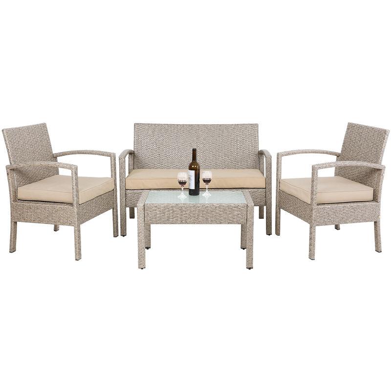 Salon de jardin polyrotin 7 pcs avec coussins gris / beige verre dépoli  jardin terrasse