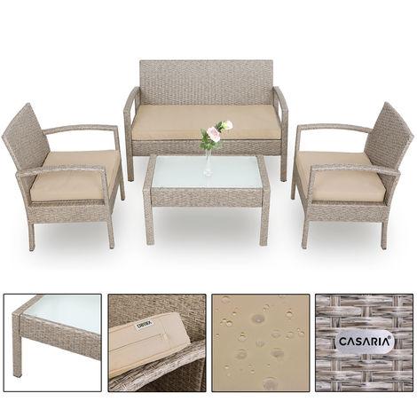 Salon de jardin polyrotin 7 pcs avec coussins gris / beige verre ...