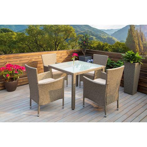 Salon de jardin polyrotin 9 pcs chaises empilable plateau verre ...