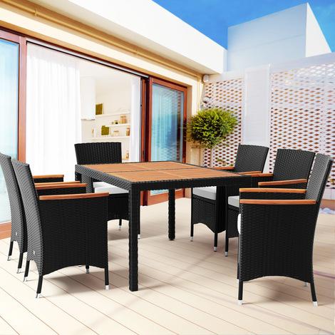 Salon de jardin polyrotin, ensemble 13 pièces - 1 table - 6 chaises ...