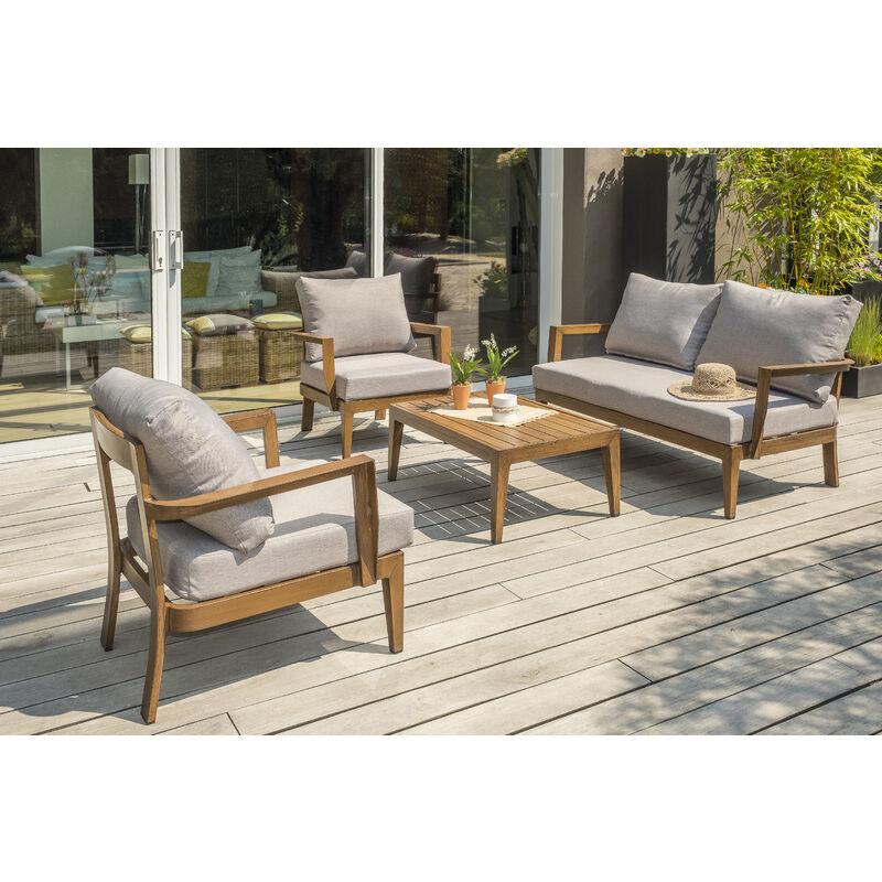 Salon de jardin PORTOFINO 4P en aluminium imitation bois - MARRON
