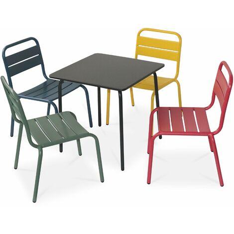 Salon de jardin pour enfants - Anna - Multicolore, 4 places, table et chaises, 48x48cm