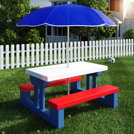 Salon de jardin pour enfants table et bancs avec parasol ensemble ...